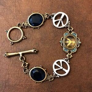 Lucky Peace Sign Blue Jewel Bracelet